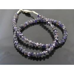 Iolite Necklace with Sterling Silver, Iolite Choker