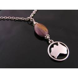 Australian Map Circle Necklace, Mookaite