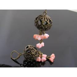 Filigree and Pink Flower Earrings
