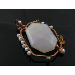 Large Chalcedony, Pearl and Crystal Wire Wrapped Pendant