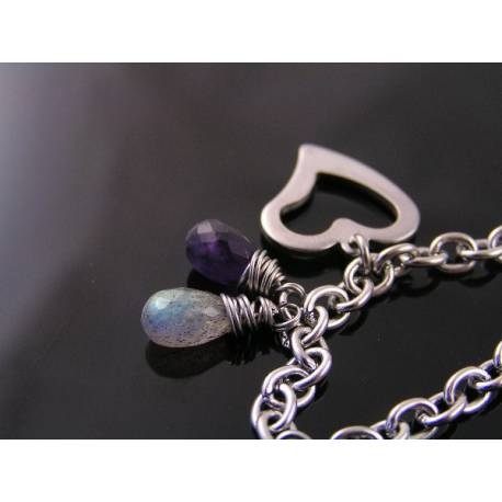 Stainless Steel Bracelet with Heart Charm, Labradorite and Amethyst