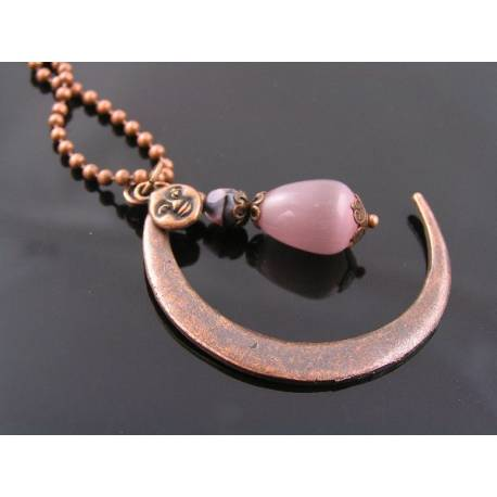 Large Copper Crescent Moon Necklace