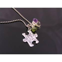 Autism Awareness, Puzzle Piece Necklace with Chalcedony and Amethyst
