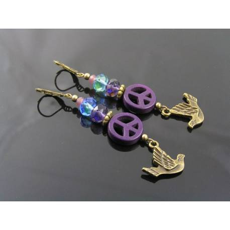 Peace Sign and Dove Charm Earrings