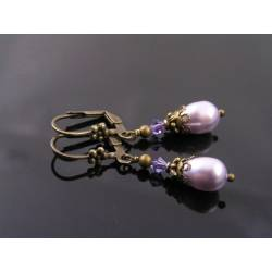 Lavender Pearl and Swarovski Crystal Earrings