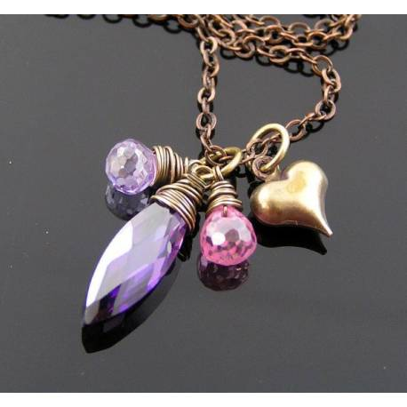 Pink and Purple Heart Necklace, Sparkling Cubic Zirconia