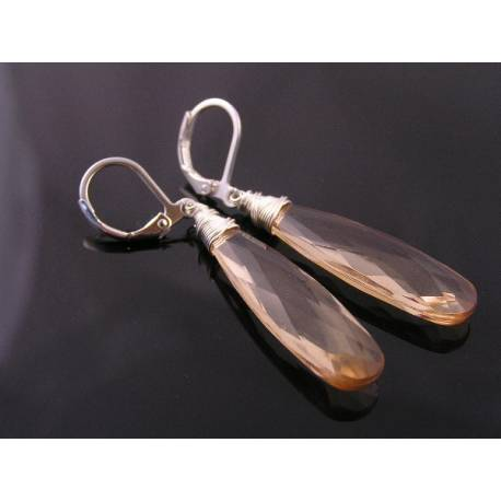 Long Champagne Colour Faceted Acrylic Drop Earrings