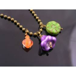 Colourful Charm Necklace, Czech Glass Shapes
