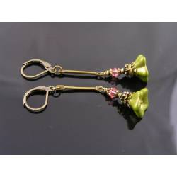 Olive Flower and Pink Crystal Earrings