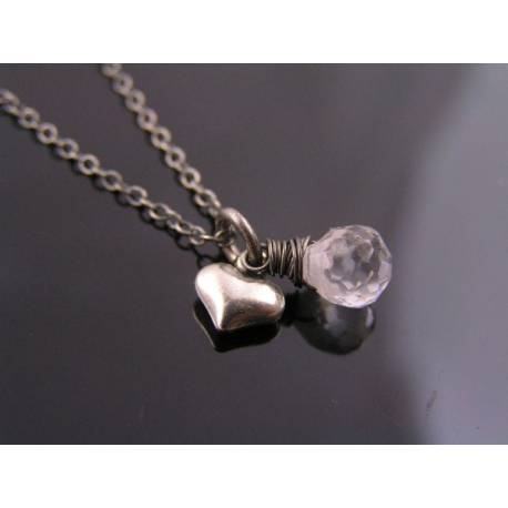 Cute Heart and Cubic Zirconia Necklace in Sterling Silver