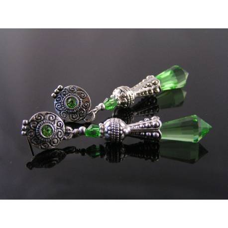 Ornate Green Crystal Earrings