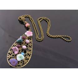 Filigree Pendant Necklace with Czech Flowers and Beads