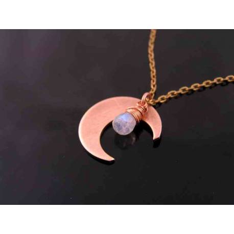 Copper Crescent Moon Necklace with Moonstone
