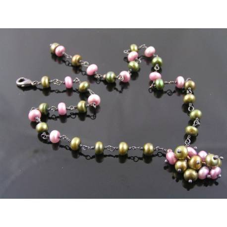 Olivine and Pink Pearl Necklace