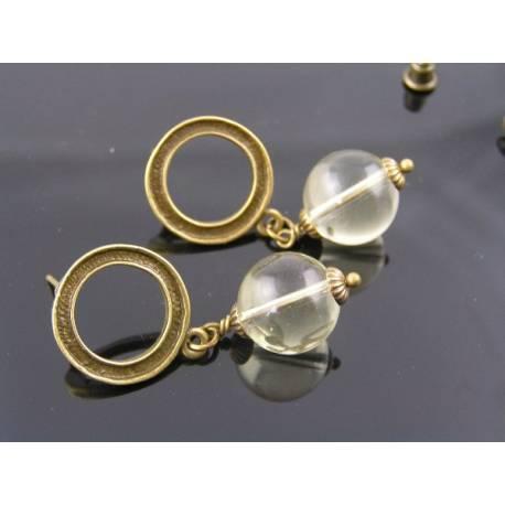 Lemon Quartz Circle Stud Earrings