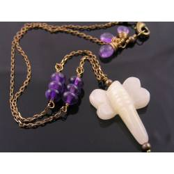 Carved Jade Dragonfly Necklace, Amethyst