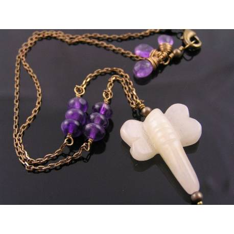 Carved Jade Dragonfly and Amethyst Necklace