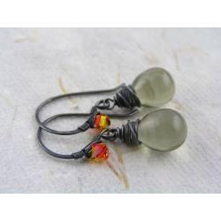 Black Diamond Czech Glass Teardrop and Crystal Wire Wrapped Earrings