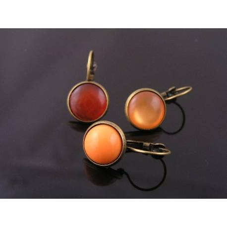 Orange Cabochon Sleeper Style Earrings