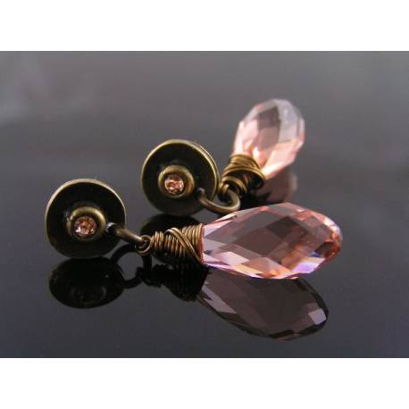 Champagne Pink Crystal Earrings