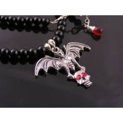 Black Onyx with Bat and Skull Necklace, Red Crystals