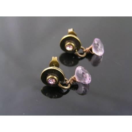 Pink Amethyst and Crystal Set Stud Earrings