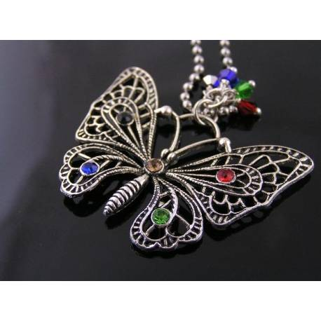 Filigree Butterfly Necklace with Hand-Set Crystals