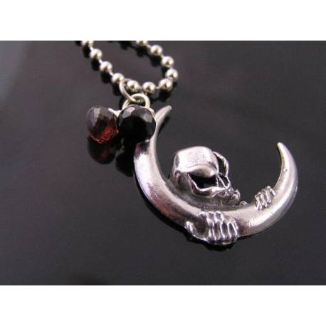 Grim Reaper Skull Crescent Moon Necklace with Garnet and Black Spinel