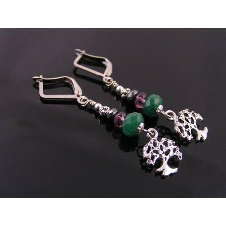 Tree of Life Earrings, Aventurine, Pyrite and Czech Glass