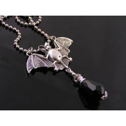 Silver Bat and Black Crystal Necklace, Halloween, Gothic Necklace