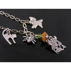 Halloween Charm Necklace, Haunted House, Scaredy Cat, Aventurine Pumpkin