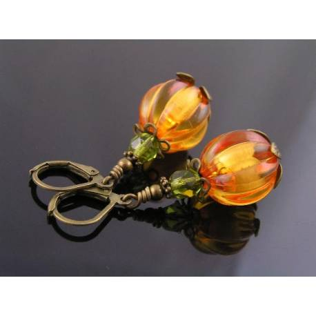 Glowing Lucite Pumpkin Earrings, Halloween Earrings
