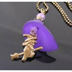 Purple Flower and Witch Charm Necklace