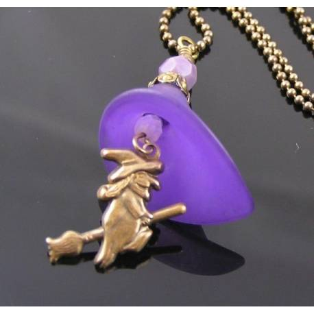 Purple Flower and Witch Charm Necklace, Halloween Necklace