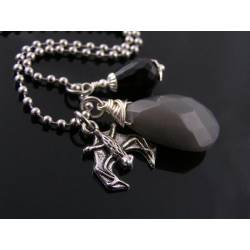 Gothic Grey Jade, Black Onyx and Bat Charm Necklace