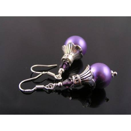 Lilac Pearl Earrings with Crystals and Sterling Silver Ear Wires