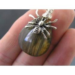 Labradorite Necklace with Spider Charm