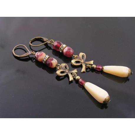 Long Burgundy and Ivory Vintage Style Czech Bead Earrings