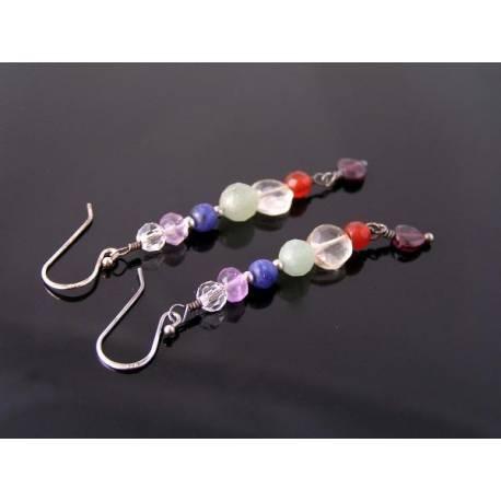 Chakra Gemstone Earrings, Sterling Silver