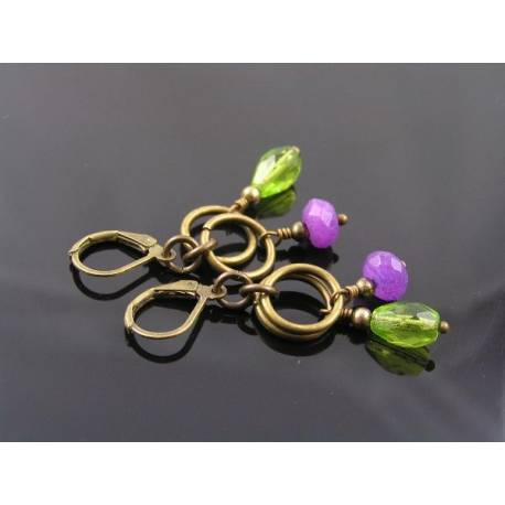 Purple Jade and Bright Green Czech Drop Earrings