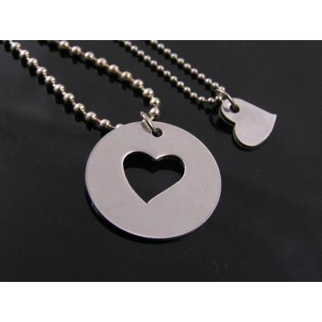 Matching Couple Necklaces with Disc and Heart Pendants