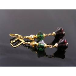 Gold, Green and Red Czech Bead Earrings