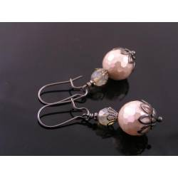 Faceted Pearl Earrings with Czech Beads