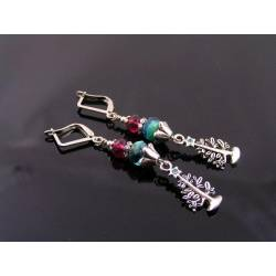 Crystal Set Christmas Tree and Czech Glass Earrings