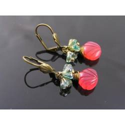 Carved Pink Chalcedony Flower Earrings