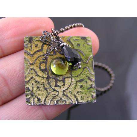 Embossed Tile Pendant with Black Onyx and Dragonfly Charm
