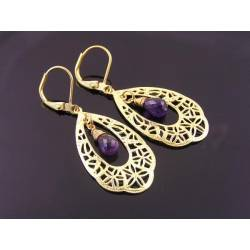 Amethyst and Golden Filigree Chandelier Earrings