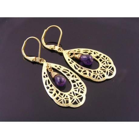 Amethyst and Golden Filigree Chandelier Earrings
