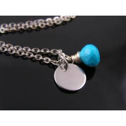 Initial Necklace with Turquoise and Aquamarine
