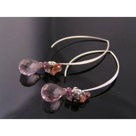 Pink Quartz and Spinel Modernistic Sterling Silver Earrings